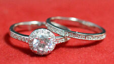 925 Sterling Silver Round CZ Engagement Ring Wedding Ring set SZ6-8