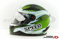 Speed and Strength SS1300 Speed Strong Green and White Full Face Helmet