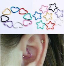 Heart Star Cartilage Tragus Helix Daith Earring Clip On Body Piercing Jewelry
