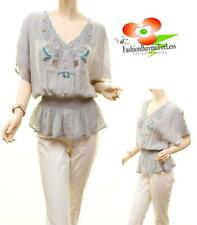 Women GRAY Faux Silk Knit Crochet Lace Embroidery Tunic Peasant Blouse Shirt Top