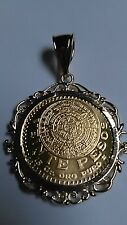 Veinte Pesos Mexican centenario Coin Aztec Calendar  Bezel and Chain GOLD PLATED