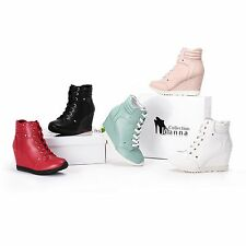 Women Shoes Ankle High High Wedge Fashion Sneaker Lace Up High Hidden Heels