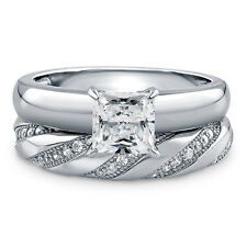 BERRICLE Sterling Silver 1.415 Carat Princess CZ Solitaire Engagement Ring Set