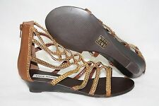 NEW Womens STEVE MADDEN P-Zipee Cognac Gold Gladiator Strap Wedge Sandals Shoes