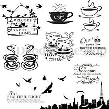 DIY Removable Coffee Cup Quote Word Decal Vinyl Home Kitchen Decor Wall Sticker
