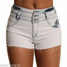High Waisted Skinny Stretchy Ladies Womens Sexy Denim Shorts 6 8 10 12 14