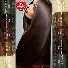 Excellent 100% Real Cheap Clip In Remy Human Hair Extensions Full Head Soft A212