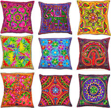 """Zip Cushion Cover 16x16"""" 40cm Indian Embroidery Animal Birds Tapestry Bright"""