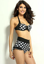 Vintage 50s Pinup High Waist Rockabilly Bikini Swimsuit Black White Polka Dot