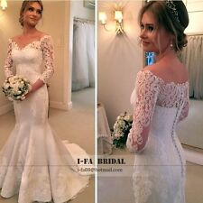 Sexy Lace Mermaid Wedding Dresses Strapless Appliques Bridal Gowns Custom Made