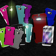 For HTC One (M8) / M8 for Windows Hybrid Phone Cover Case + Screen Protector
