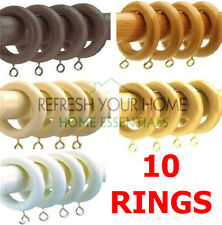 Speedy Wooden Curtain Pole Rings - 10 PACK - 5 colours, 28mm Cheapest On Ebay