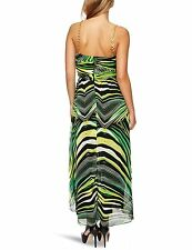 Baby Phat designer emerald green hi/low party dress gold chain UK 10 or 12 BNWT