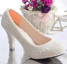 White pearls heels wedding shoes flats low heel high heel Bridal pumos size 5-9