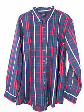 -*George XL46-48 pointed button collar Navy w/red/white long sleeve dress shirt