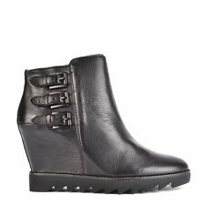 Ash Footwear Iggy Black Leather Wedge Ankle Boot RRP£189