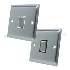Slimline Satin Brushed Matt Chrome  Intermediate 1 Gang Light Switch 10 Amp