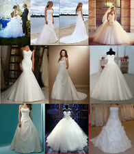New 2015 White/Ivory Wedding Dresses Long Bridal Gowns Stock Size6-8-10-12-14-16