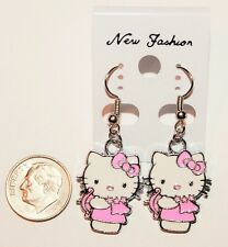 Hello Kitty with Bow & Arrow Hook Earrings- Choose Color