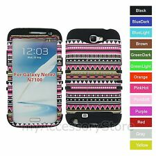 For Samsung Galaxy Note 2 II Pink Tribal Pattern Hybrid Rugged Impact Case Cover