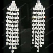 6cm CRYSTAL glass rhinestone DROP EARRINGS chandelier CLIP ON/PIERCED silver pl