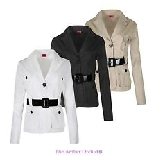 LADIES WOMENS BLAZER BELTED MILITARY TWO BUTTONED LONG SLEEVE JACKET COAT 8-14