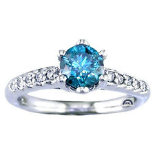 1.33 CT REAL Round CUT NATURAL BLUE WHITE DIAMOND RING 14K / 18K GOLD ENGAGEMENT