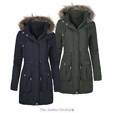 LADIES WOMENS WINTER FAUX FUR HOODED PARKA QUILTED JACKET COAT PLUS SIZES 8-24