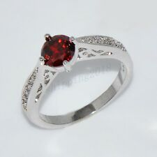 Jewellery CZ Ring Size 6-10 Red Ruby Crystal White Gold Filled Wedding Gift
