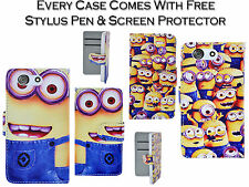 Despicable Me Minion PU Leather Wallet Case Cover Holder For Sony Xperia Z3 Mini