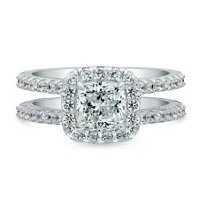 BERRICLE Sterling Silver Cushion Cut CZ Halo Engagement Ring 2.3 Carat