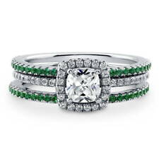 BERRICLE Sterling Silver Cushion CZ Halo Engagement Ring Set 1.14 Carat
