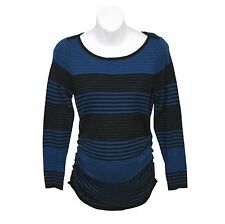 Oh Baby by Motherhood Blue & Black Striped Ruched Sweater Top - Maternity Sizes