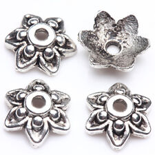 100/200Pcs Tibetan Silver Carved Flower Shaped Loose Charms Beads Caps DIY 9*3mm