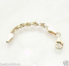 3mm Heavy Duty Solid Diamond Cut Rope Chain Necklace Extender  14K Yellow Gold