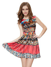 Ever Pretty Fashion Floral Printed Short Cocktail Coral Casual Dress 05203