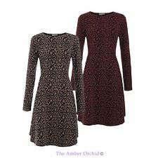WOMENS NEW LADIES ROUND NECK LEOPARD PRINT LONG SLEEVE MIDI A-LINE SKATER DRESS