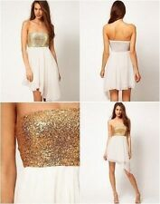 New asos gold sequin bandeau dress with cream chiffon Size 10 & 12