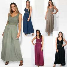 AU Womens Soft Cotton Pleated Long Maxi Dress Flared Gypsy Gown Boho
