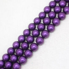 """8-14mm Purple shell Bead mother Pearl Round DIY Loose Beads 15"""""""