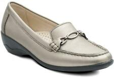 Padders ELLEN Womens Ladies Leather Extra Wide Fit Moccasin Loafers Shoes Pewter