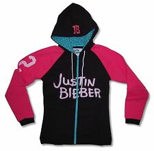 "JUSTIN BIEBER ""ICON"" BLACK AND PINK ZIP HOODIE SWEATSHIRT NEW OFFICIAL JRS"
