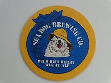Beer Coaster: SEA DOG Brewery Wild Blueberry Wheat Ale ~ MAINE ~ DOG w/ HAT!