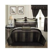Room In A Bag Queen King Bedroom Set Brown Striped 24 Pc Comforter Drapes Sheet