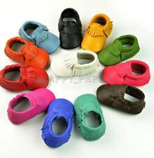 Newborn Infant Baby Soft Sole Moccasins Genuine Leather Suede Crib Shoes 6-24M