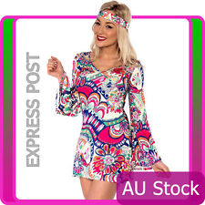 Ladies 60s 70s Retro Hippie Go Go Girl Disco Costume Fancy Dress Hen Xmas Party