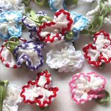 40/200PCS Satin Ribbon Flowers Bows W/beads Appliques Wedding Deco Lots Mix A452