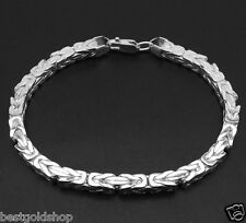 4mm Square Byzantine Bracelet Real 925 Sterling Silver w/ Lobster Claw Clasp