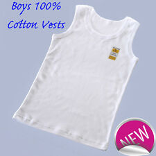 3 PACK OF CHILDREN'S SINGLET 100% COTTON ATHLETIC VESTS UNDERWEAR TOP