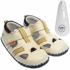 Boys Girls Toddler Leather Soft Sole Baby Shoes Sandals Cream & Shoe Horn